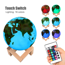 3D Painted Earth Lamp Colorful Moon Lamp USB Rechargeable Touch Sensor LED Night Light Home Decoration Creative Gift aucd colorful 3d magical moon led night light moonlight desk table lamp usb rechargeable for home decoration christmas gift 267