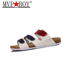 MVP BOY 2018 New Fashion men Shoes Cork Slippers men Slippers Sandals Summer Beach Shoes Lovers Flats Sandals Slides Size 35-45 цена