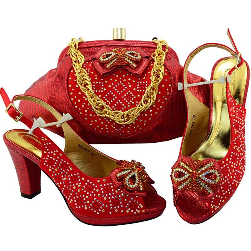 Ensemble Sac Dernières Avec Pour Water fuchsia Femmes Strass Italien Correspondre À Et Green Design Africaines rouge pourpre Chaussures Sacs Décoré pvqzp
