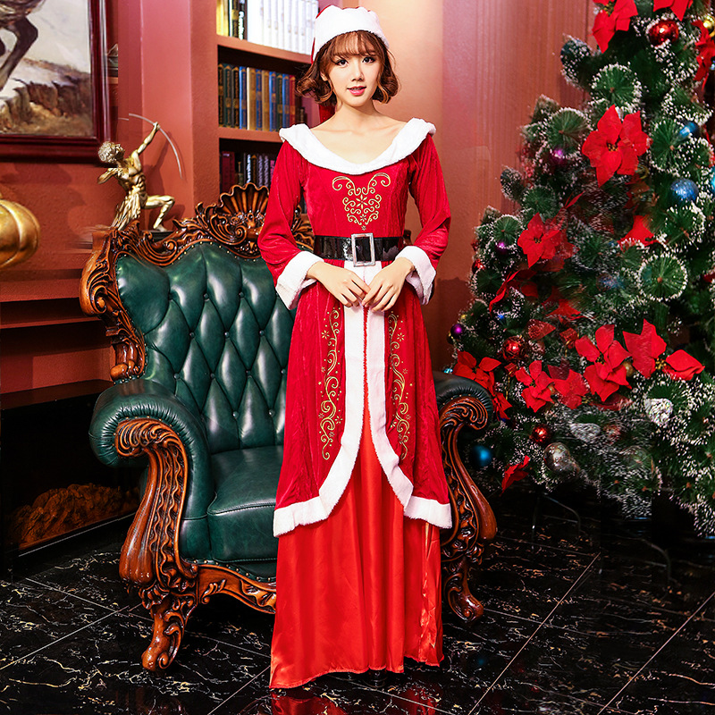women christmas dress sexy red christmas costumes santa claus for adults uniform xmas costume lqz - Christmas Clothes For Adults