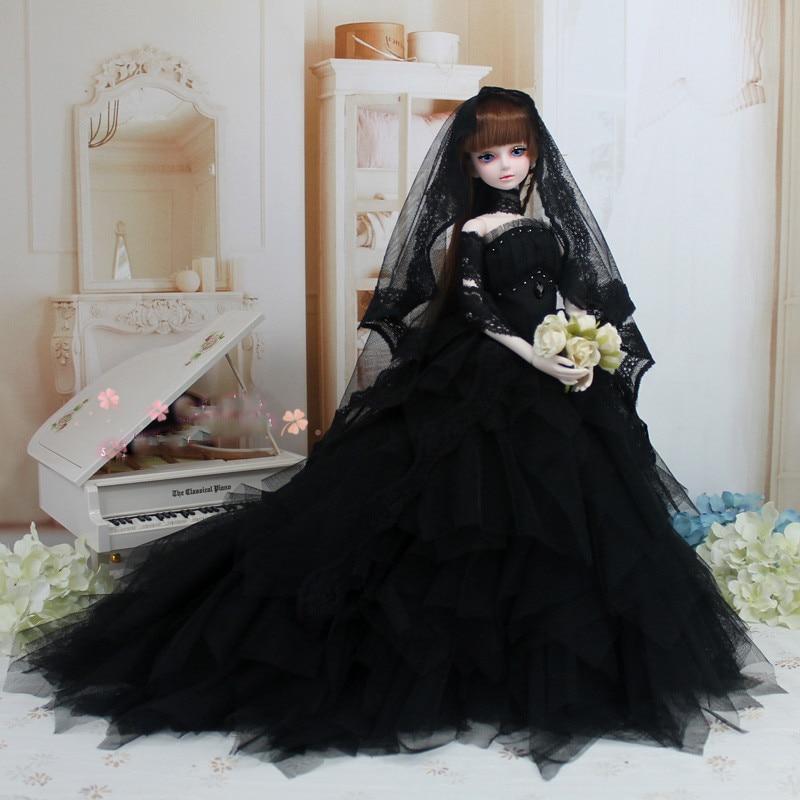 LIMPOPO 2018 new hot Dress wedding dress evening dress1/3 1/4 BJD SD doll dress black wedding dress doll clothes new black lace evening dress with sequins for bjd girl 1 3 1 4 msd doll clothes