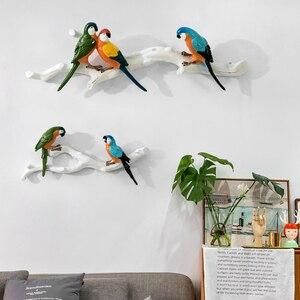 Productos de decoración del hogar de estilo nórdico, hermosas pegatinas de pared tridimensionales de loro, artesanías creativas de resina colgante para pared de pájaros