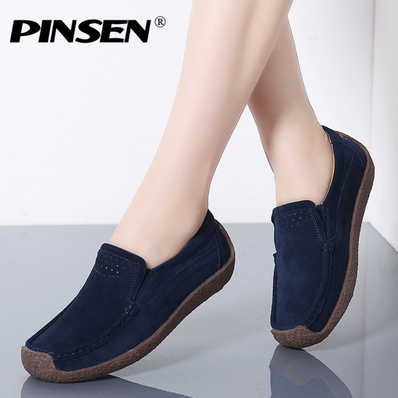 PINSEN 2019 Autumn Flats Women Shoes   Leather     Suede   Slip On Shoes Woman Ballet Flats Ladies Shoes Oxfords for Women Moccasins