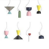 Nordic light design modern pendant lights dinning room Bedroom retro pendant lamps multi color DIY Aluminum cord suspension loft
