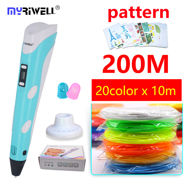 myriwell 3d pen 3d with 200m ABS filament and free pla plastic 3 d pen 3d handle Smart Child birthday gift Christmas present myriwell 3d pen led display 1 75mm pla filament abs 3d pens 3 d pen 3d handle smart child birthday gift toys abs plastic