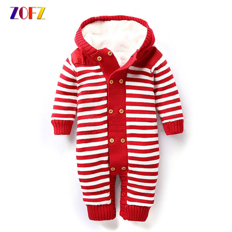 ZOFZ Fashion Baby Clothes for Girls Striped Long Sleeve Jumpsuit Cute Baby Boy Rompers Cotton Warm Thick Hooded Babies Clothing kvp 24200 td 24v 200w triac dimmable constant voltage led driver ac90 130v ac170 265v input