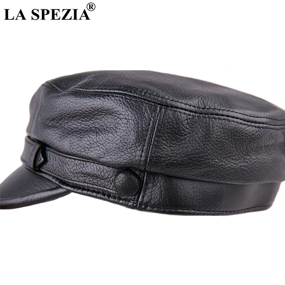 ea563454518 LA SPEZIA Men Army Hat Leather Military Caps Male Casual Black Captain Hats  Retro Spring Adjustable Luxury Classic Flat Top Caps-in Military Hats from  ...