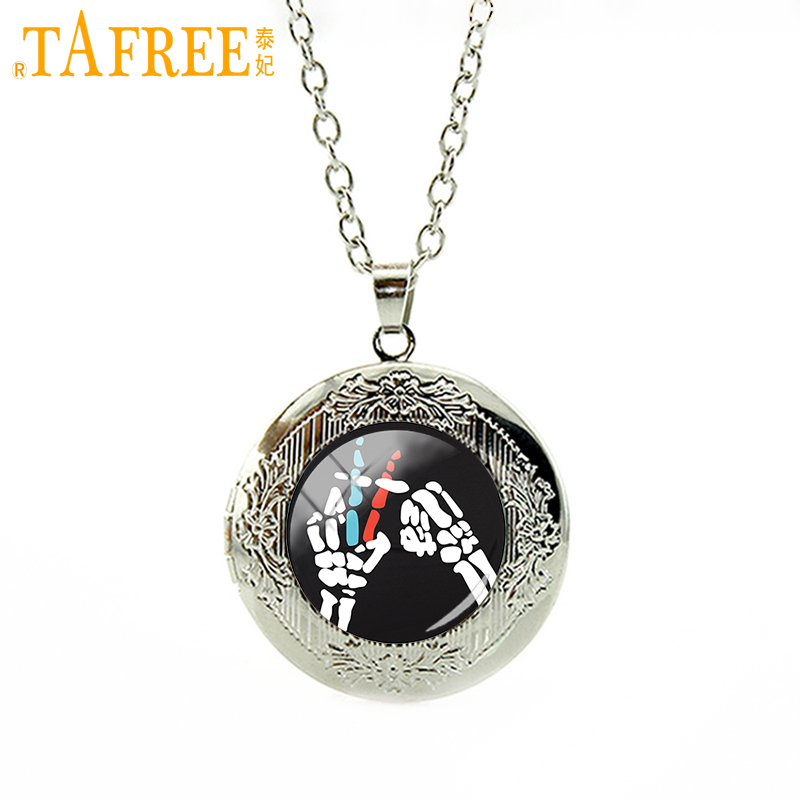 TAFREE Twenty One Pilots Music Band locket Necklace a special birthday offer choker for like Hip-Pop round Glass jewelry H258