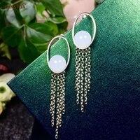 Xinjiang Hetian Jade Tassel Earrings for Women 925 Sterling Silver Certified Natural Hetian White Jade High Quality Family Gifts
