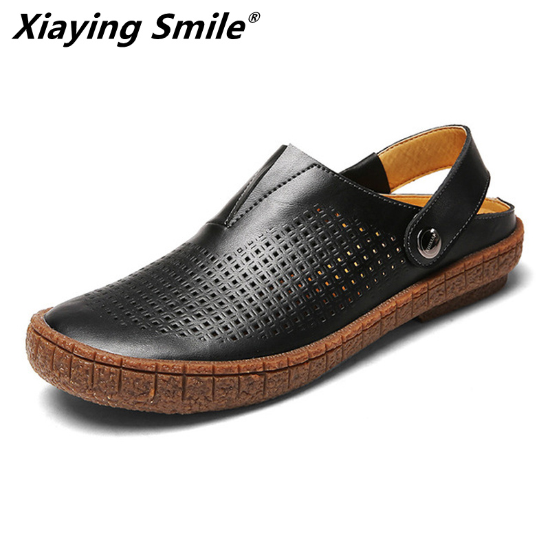 2019 Hotsell cow leather Classic Men Outdoor Casual Flats Sandals Fashion Summer Beach Shoes Cheap Top