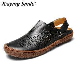 2019 Hotsell cuero de vaca clásico hombres al aire libre Casual pisos sandalias moda verano playa zapatos baratos de calidad superior antideslizantes zapatillas