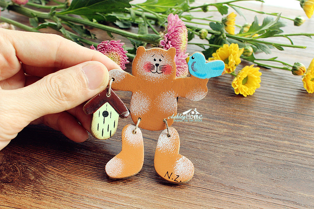 Cat and Bird, <font><b>New</b></font> <font><b>Zealand</b></font> Tourist Travel <font><b>Souvenir</b></font> Wooden <font><b>Fridge</b></font> <font><b>Magnet</b></font> Craft image