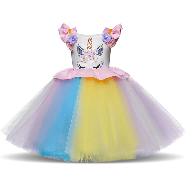 Unicorn Baby Girl Birthday Tutu Dress Kids Wear Cartoon Pattern Dresses For Girls Party Gown Appliques Floral Clothes