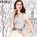 Artka Women's Summer Cotton Printed Shirt Elegant O-neck Puff Sleeve Comfy All-match Summer Essential Blouse SA10253X