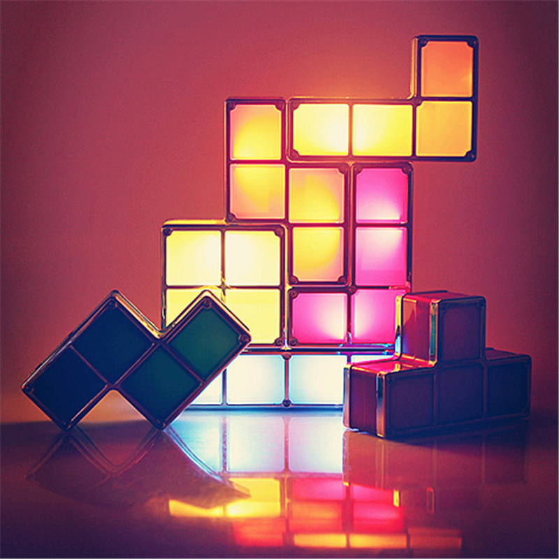 DIY Tetris Puzzle Light Stackable LED Desk Lamp Constructible ...