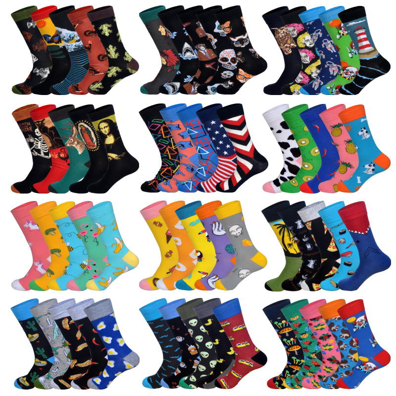 LIONZONE 5Pairs/lot Spring New Arrived Happy   Socks   Men Funny Art BritishStyle Streetwear Hip Hop Designer Crew   Socks   Gift Box