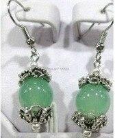 Doğal boncuk Güzel TIBET YEŞIL taş KÜPE Dangle Lucky Çember Küpe 10 adet 5 [çifti] küpe gümüş takı
