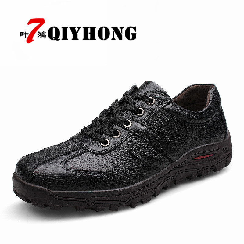 fd22c98c52f4 Hommes Appartements En marron Main Mode Qualité Marque Noir Haute Souple  Mocassins Cuir Véritable 38 À 48 Qiyhong Chaussures ...