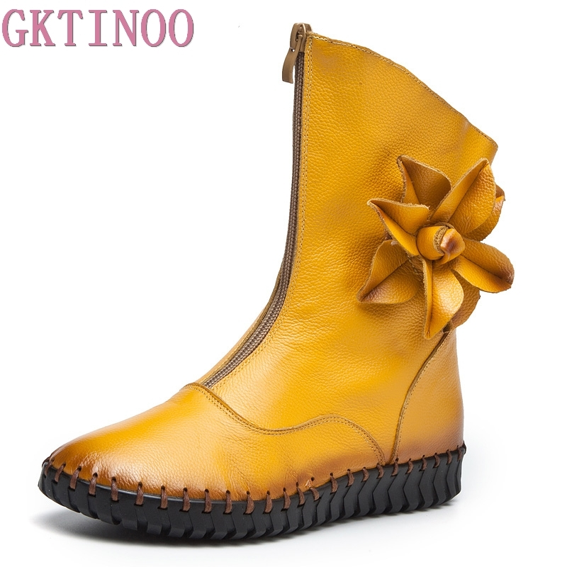GKTINOO Women Ankle Boots Handmade Soft Flower Decoration Womens Autumn Winter Genuine Leather Shoes Flat Boots