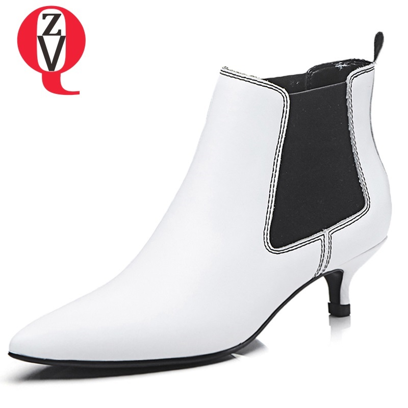 ZVQ women shoes 2018 newest fashion sexy med thin heels concise casual geuine leather elastic band black and white ankle boots concise men s casual shoes with colour block and elastic design