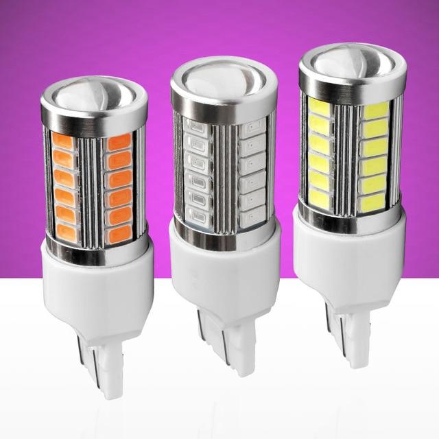 T20 7443 W21/5 Вт 33 SMD 5630 5730 светодио дный Авто стоп-сигналы 21/5 Вт DRL вождения автомобиля лампа стоп луковицы поворотники красный, Белый Желтый DC 12 В
