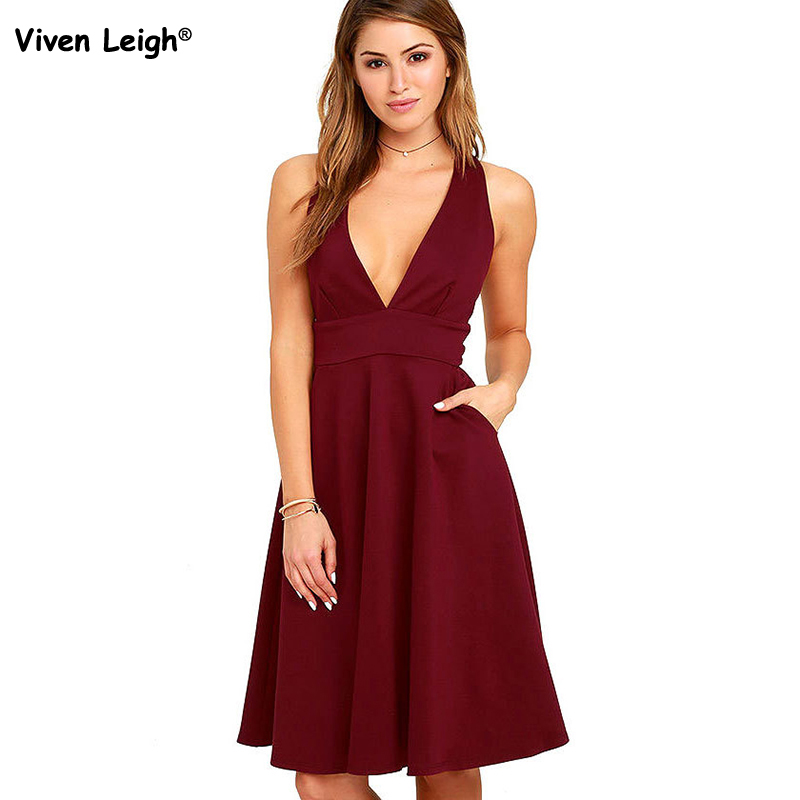 2017 Summer Sexy Deep V-Neck Wine Red/Black Sundress Elegant Women Casual Sleeveless Party Dress