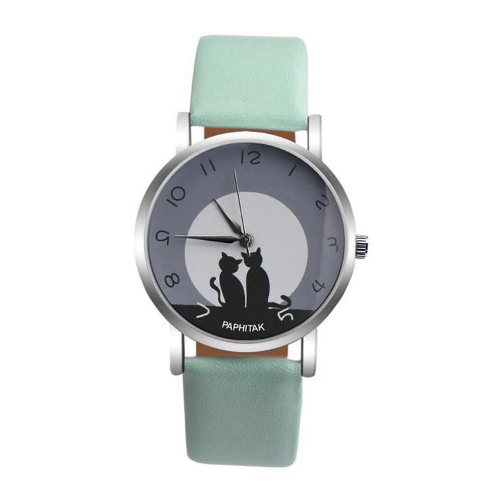 Для мужчин Для женщин relogios прекрасный кот Кварц Аналоговый арабские цифры вечерние Дата пара наручные часы reloj Баян saat
