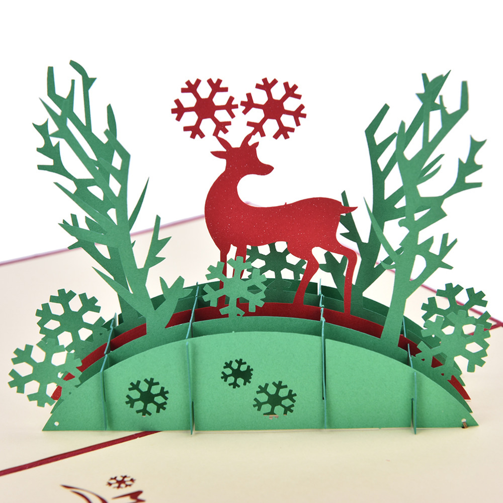 Reindeer Christmas Cards.Us 1 15 17 Off 3d Pop Up Holiday Greeting Cards Deer Jesus Reindeer Christmas Thanksgiving Vintage Folding Greeting Thank You Christmas Card In