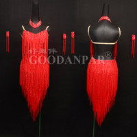 new Latin Dance Dress Rumba dancewear Jive fringe ballroom dance clothes summer dress competition dres sexy v neck red