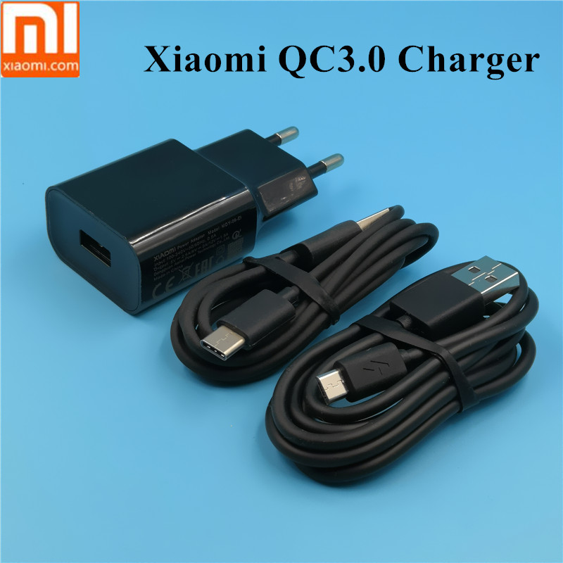 XIAOMI redmi note 5 <font><b>Charger</b></font> QC 3.0 Adapter for xiaomi mi 8 6 mix 3/2s a1 a2 max 3 2 mi8 redmi 5 plus mi5 micro usb type c cable image
