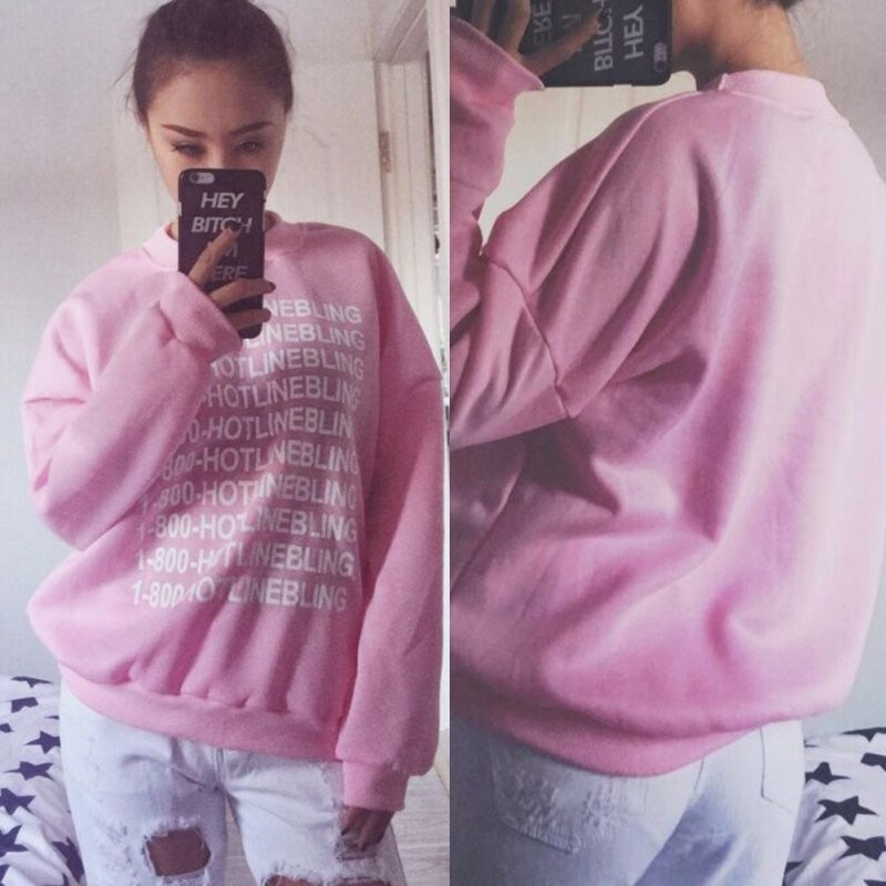 Autumn Fashion Women Pink Fleeced Thick Warm Hoodies Pullovers 800 Hotline Bling Winter Sweatshirts New 8