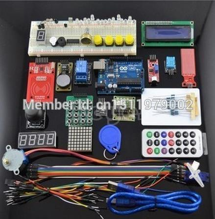 DOIT 1 Set UNO R3 KIT Upgraded Version for Arduino Starter Kit RFID Learn Suite Stepper Motor + ULN2003 Free Shipping 1 set starter kit basic learning suite for uno r3 kit upgraded stepper motor led jumper wire kits for arduino with retail box