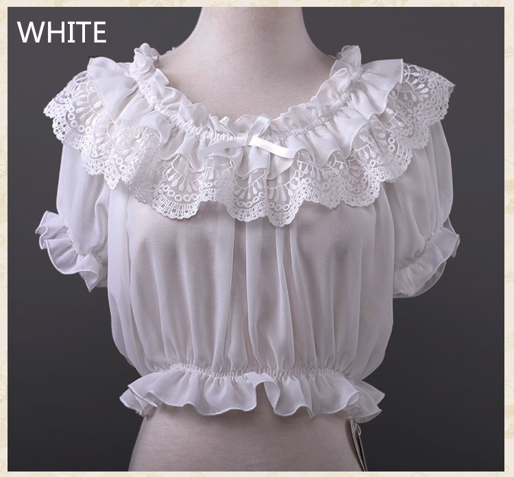 16 New Women Tube Top Loyal Princess Lace Embroidery Ruffled Puff Sleeve Ruffle Basic Vintage Tube Tops White Black Pink Red 7