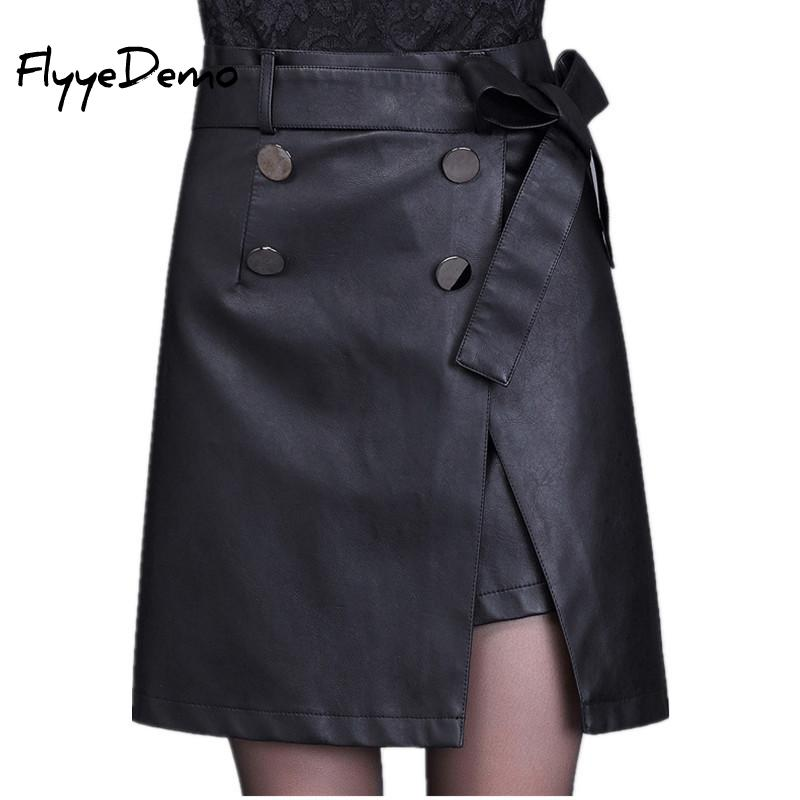 6XL Leather Black A Line Women's Skirt Vintage High Waist With Belt 2019 Autumn Sashes Midi Skirts Female Plus Size