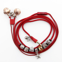 URIZONS Jewelry Necklace bracelet Earphones with Mic Xmas gift 3.5mm PU Braided earbuds for iphone xiaomi huawei Audio Devices