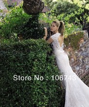 Free shipping 2013 new design MERMAID sweetheart backless Short Sleeve gown bridal lace beach wedding dresses custom sizecolor