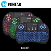 VONTAR Hintergrundbeleuchtung i8 Englisch Russisch Spanisch 2,4 GHz Drahtlose Tastatur Air Mouse Touchpad Hintergrundbeleuchtung für Android TV BOX Mini PC