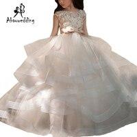 新着フラワー女の子レースアップリケキャップスリーブボールガウンビーズ床の長さの初聖体ドレスのウェディングドレス