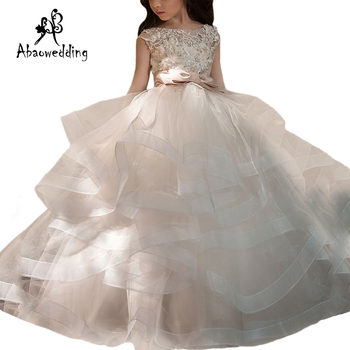New Arrivals Flower Girls Lace Appliques Cap Sleeve Ball Gowns Beading Floor Length Pageant First Communion Dresses Wedding Gown