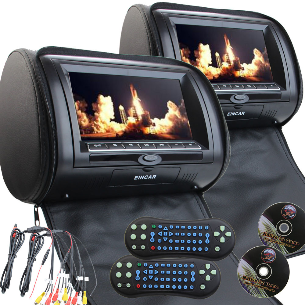 2X7inch car headrest pillow cd dvd digital panel screen back sit monitor+IR wirelss headphone not included 32 bit game+USB+SD+FM eincar car 9 inch car dvd pillow headrest two monitor lcd screen usb sd 32 bit game fm ir multimedia player free 2 ir headphones
