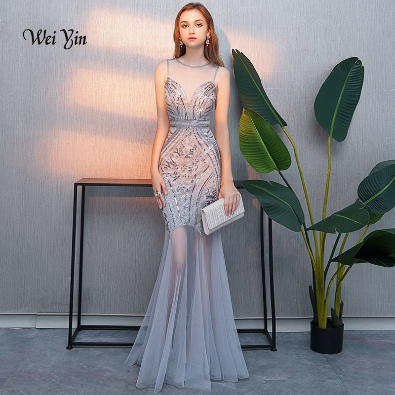 Weiyin weiyin 2019 Sexy Gris Noir Or Bourgogne Paillettes Perles Robes De Soirée Sirène Longue Formelle Prom Party Robe WY993