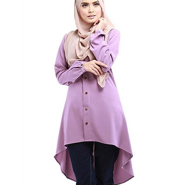 Muslim Women Top Shirt Dresses O-Neck Long Sleeve Islamic Clothing Chiffon Muslim Shirts