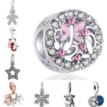 Simple Style Party DIY Gifts Enamel Ball Lobster Dress Snowflake Mickey Pendants Beads Fit Pandora Charms Bracelets for Women(China)