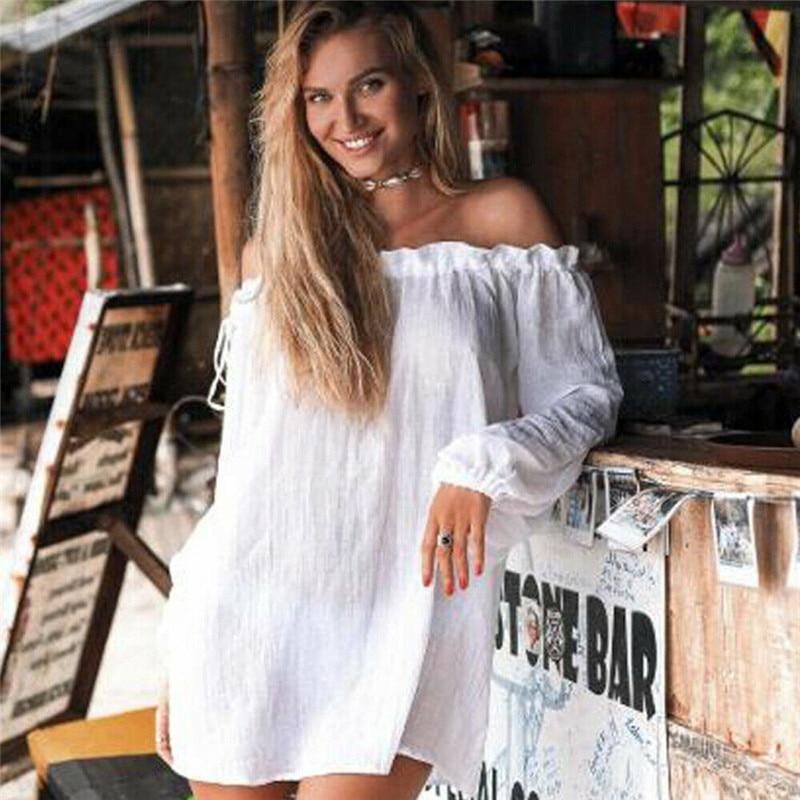 New Summer Womens Solid Color Strapless Bathing Suit Loose Crochet Bikini Cover Up Swimwear Summer Beach Dress Beachwear Femme