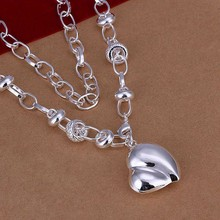 Silver Necklace Pendant,925 jewelry silver plated Necklace Big Peach Heart Necklace N055 /GOXHEXMX MOLRQZMK
