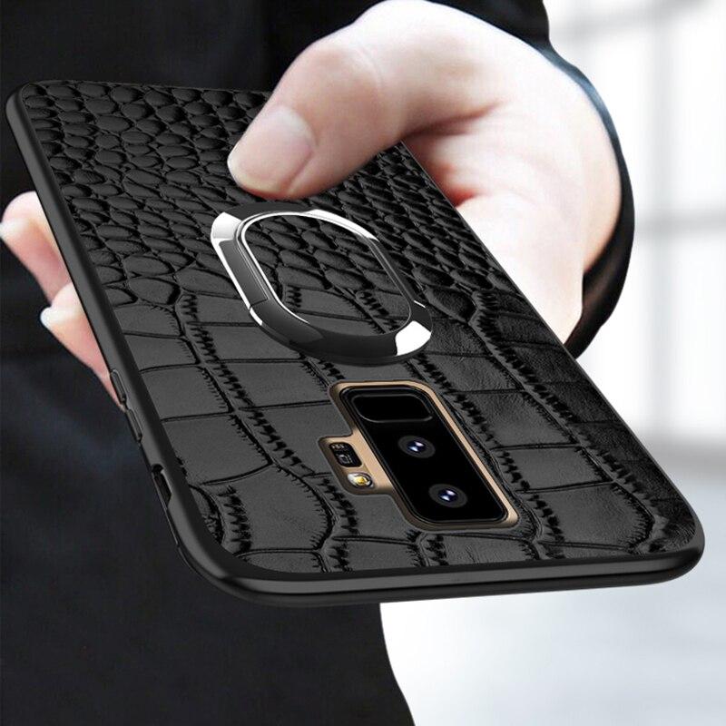 Telefon Fall Für Samsung Galaxy S9 Plus S7 Rand S8 Hinweis 8 9 A5 A7 J5 J7 Auto Halter Magnetische saug Ring Halterung Krokodil Textur