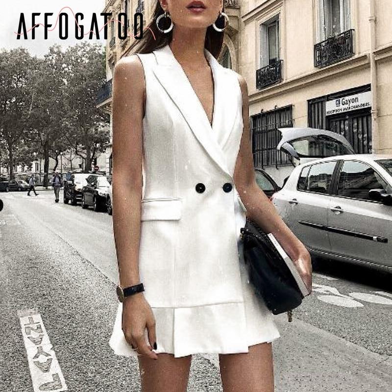 Affogatoo Sexy V Neck Office Ladies White Blazer Dress Women Elegant Ruffle Sleeveless Party Dress Vintage Slim Work Short Dress