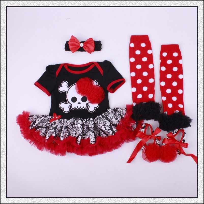 Cadılar bayramı Tutu kostümleri kafatası kafa bebek Tutu Romper kafa ayakkabı çorap 4 adet Bebes giyim seti kız cadılar bayramı Tutu kostümleri