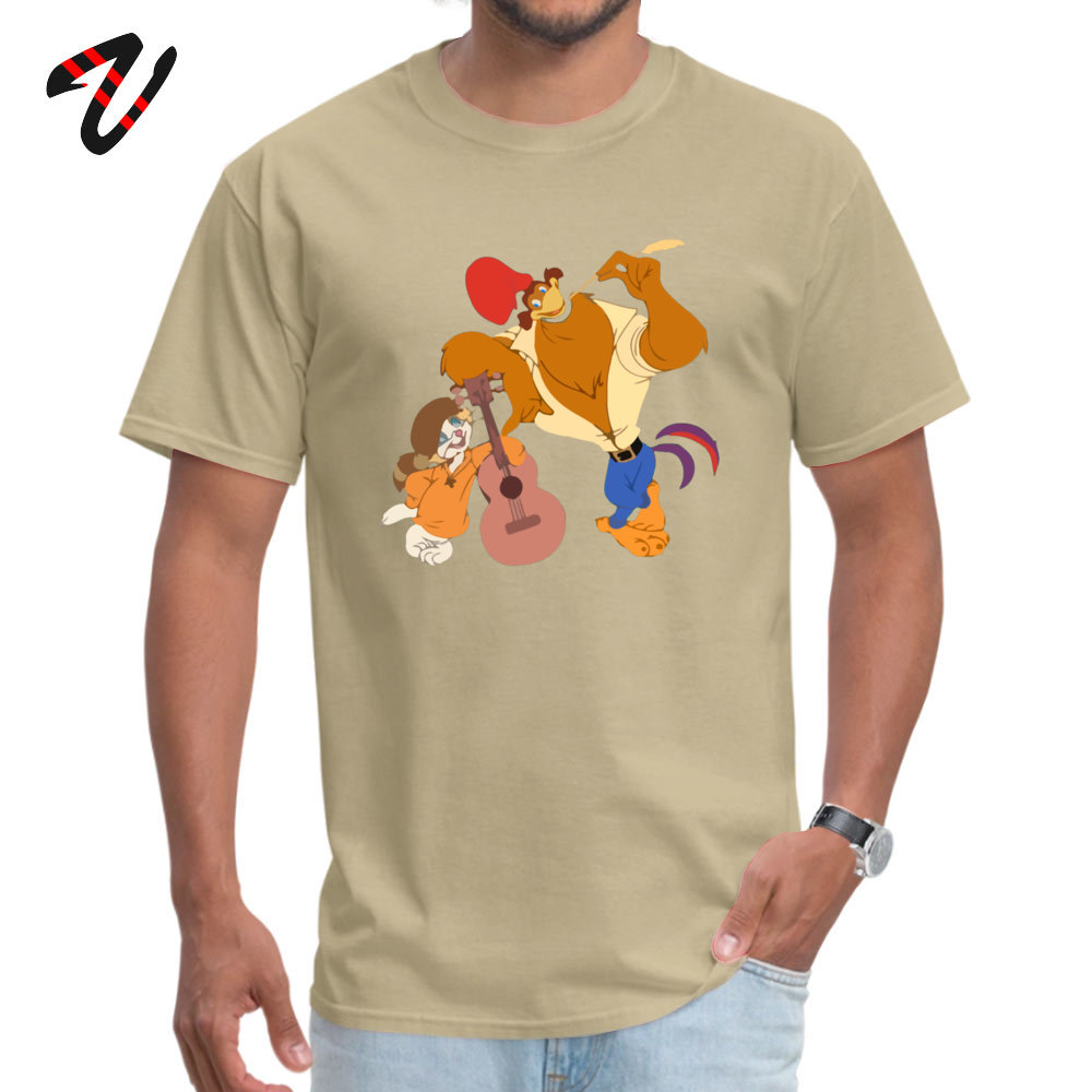 RockaDoodle 2018 comfortable T Shirt O-Neck Thanksgiving Day Cotton Short Sleeve Tshirts for Men Crazy T Shirts Rock-a-Doodle -19547 beige