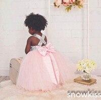 Stunning Bling Sequins Blush Pink Tulle Flower Girl Dress Kids O Neck Bow Sashes Ball Gown